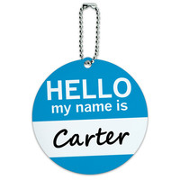 Carter Hello My Name Is Round ID Card Luggage Tag