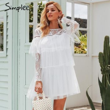 Simplee Elegant multi-layer lace mesh dress Hollow out long sleeve pleated cake dresses Women autumn winter white dress vestidos