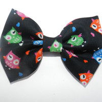 Colorful Owls Black Fabric Hair Bow, Pink Owls, Green Owls, Orange Owls, Blue Owls, Black Hair Bow, Fabric Bow, Hair Accessories