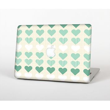 The Scratched Vintage Green Hearts Skin for the Apple MacBook Pro Retina 15""