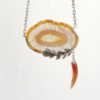 Brown Geode Agate Necklace Soldered Stone Silver plated leaves