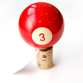 FREE SHIPPING Upcycled Pool Ball Bottle Stopper, Red No. 3, ET744