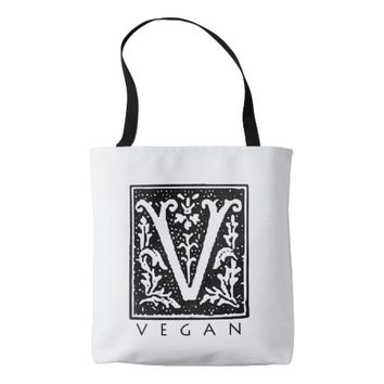 Vegan Gothic V Black and White Tote Bag