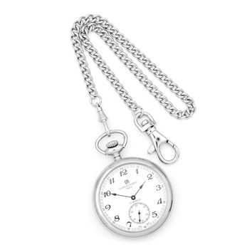 Charles Hubert Stainless Steel Open Face Pocket Watch