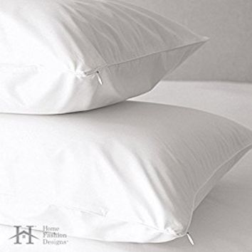 2-Pack Premium Allergy Pillow Protectors. Hypoallergenic Dust Mite & Bed Bug Resistant Anti-Microbial 400 Thread Count 100% Cotton Zippered Pillow Covers. By Home Fashion Designs Brand. (King)
