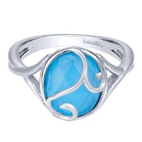 Sterling Silver Rock Crystal and Turquoise Fashion Ring