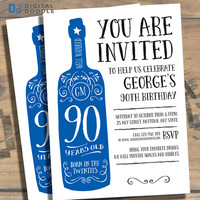 90th Birthday Invitation, 90th Birthday, Birthday Invite, 90 Birthday, Digital, Milestone, Printable, DIY, Invite, Template, Birthday Party