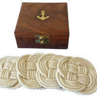 Rope Coasters w/ Anchor Box - Set of 4