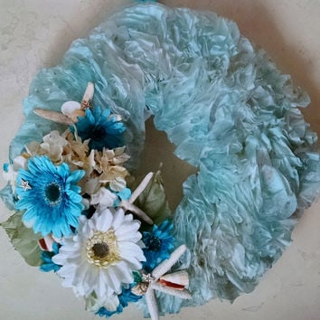 Ocean Wreath, Starfish, Full Fluffy Wreath, Handmade Wreath, Coffee Filter Wreath, Aqua & Sand, Colorful Wreath, Door Wreath, HELD FOR DEBI