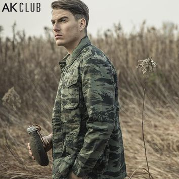 AK CLUB Brand Field Jacket Military Style M65 Tiger Camouflage Field Army Jacket CAMO Battle Outwear Men Jacket Cotton 1504093