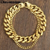 Davieslee Curb Cuban Box Wheat Link Mens Bracelet Chain Double Layer Stainless Steel Gold Silver