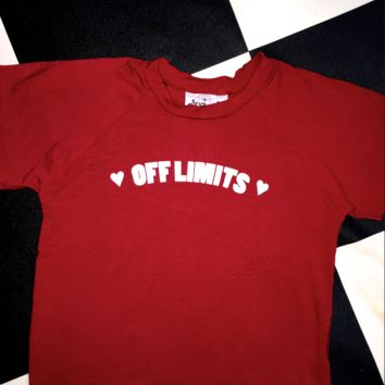SWEET LORD O'MIGHTY! OFF LIMITS CROP TEE IN RED