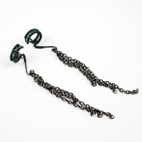 Ear Cuff Smokey Gray with Chains PAIR by ShutUpAndCuffMe on Etsy