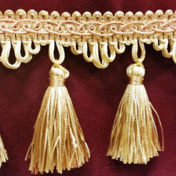 "Luxury Gold & Copper Tone Tassel Trim Fringe 3"" Long Designer Tassels Sold By The Yard  for edging curtains/cushions/throws/valances/Crafts"