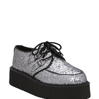 T.U.K. Silver Glitter Round Toe Mondo Creepers | Hot Topic