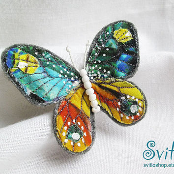 Brooch Butterfly Juicy Color | Felt Brooch | Textile Art | Free Hand Machine Embroidery Brooch | Yellow Green Blue Red Grey White Color