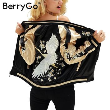 BerryGo Floral embroidery satin jacket coat Autumn winter street jacket women Casual baseball jackets reversible sukajan 2017