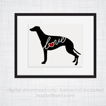 INSTANT DOWNLOAD: Greyhound Love - an original digital silhouette for wall-art, clip art, t-shirt transfers, scrapbooking