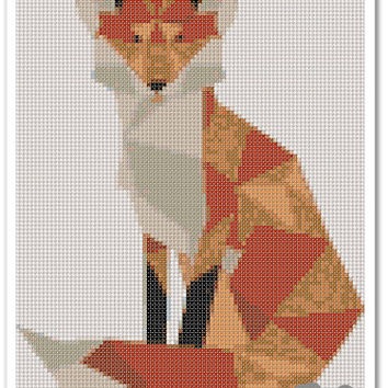 Fox Cross Stitch Pattern, Cross stitch Embroidery