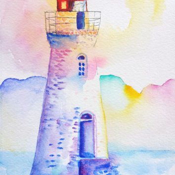 Lighthouse Watercolor, Cockspur Island, 5x7, Landscape, Seascape, Nautical, Beach, Tybee Island, Savannah Georgia,Fort Pulaski