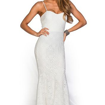 Karina Ivory White Sweetheart Crochet Lace Mermaid Maxi Gown
