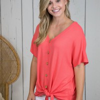 Taylor Button Up Top, Coral