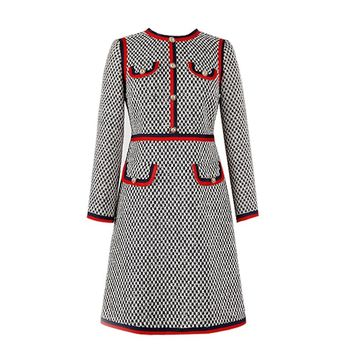 Red Trims Black And White Tweed Sheath Dress Buttoned Pockets Mini Dress