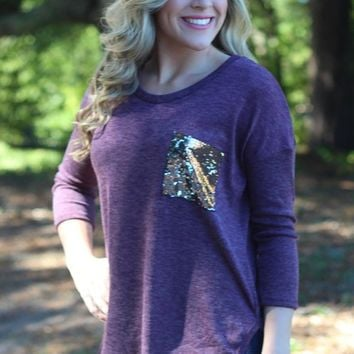 Pockets Sequined Loose Shirt