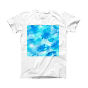 The Abstract Blue Stroked Watercolour ink-Fuzed Front Spot Graphic Unisex Soft-Fitted Tee Shirt