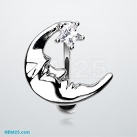 Crescent Moon Shine Reverse Belly Button Ring