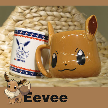 Anime Game Pokemon Pocket Monsters Super Kawaii Eevee Mug Ceramic Coffee Milk Tea Mug Cute Tumbler for Friend Children Gift