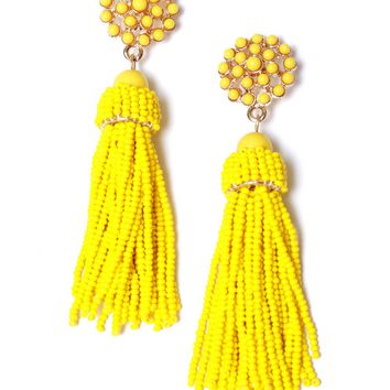 Don't Tassel Me Beaded Earrings Yellow