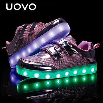 Spring Kids Luminous Shoes USB Charger Led Glowing Sneakers For Girls Lights Children Casual Walking Shoes