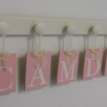 Baby Nursery Letters Personalized Names Sign Custom Kids Hanging Wood Letters Pink Set 6 Hooks Painted Linen White - Gift for CAMDYN