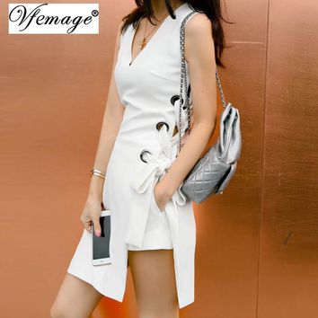 Vfemage 2017 Summer Sexy Lace up Eyelet V neck Side Split Vestido Tie up Chic Women Club Party Beach Casual Mini Dress 6003