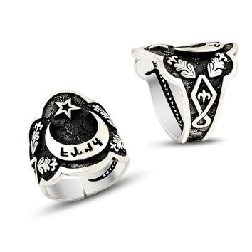 Crescent star sterling silver mens thumb ring