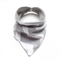 Baby Bandana Bib Scarf in Grey Chevron Flannel with Snap Closure for Boy or Girl
