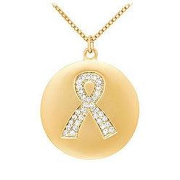 Diamond Breast Cancer Awareness Ribbon Disc Pendant : 14K Yellow Gold - 0.15 CT Diamonds