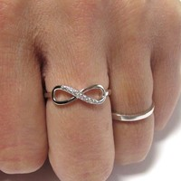 Delicate Infinity Ring-Rhodium Over Sterling Silver W/ Cubic Zirconia