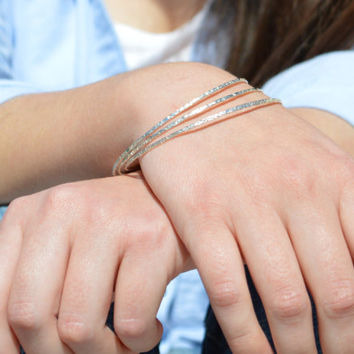 Thin Silver Bangle, Raw Silk Bangle. Thin Bangle, Stacking Bangles, Sterling Silver Bangle, silver bracelet, stacking bangle, silver bangle