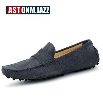 Men's Brand Men's Suede Leather Moccasin Slip-on Flat Shoes Breathable Step-in Casual Driving Shoes For Men Penny Loafers Shoes