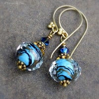 Blue & Gold Foiled Lampwork Glass Earrings, Bali Gold Vermeil and Swarovski Crystals... Delicate Jewelry