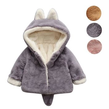 Cute Winter Kids Baby Girl Hooded Cloak Jacket Thick Clothes Warm Coat Infant Princess Velvet Outerwear Coats