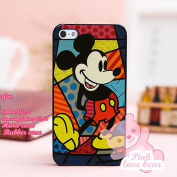Mickey Mouse romero britto for iPhone 4, iPhone 4s, iPhone 5, Samsung Galaxy S3, Samsung Galaxy S4 Case