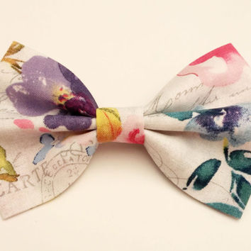 Watercolor Script Bow • Floral Bow • Flower Hair Bow • Spring Hairbow • Rose Hair Bow • Floral Cotton Print • French Script Bow • Watercolor