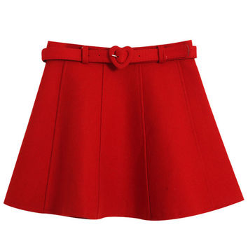 Mini Belted A-line Skirt