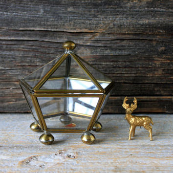 vintage brass and glass box curio cabinet // miniature glass display box pentagon