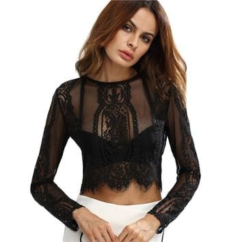 Round Neck Long Sleeve Lace See-through Crop Top