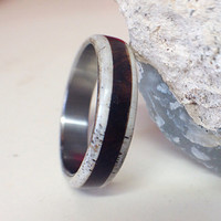 Mens Titanium Ring with Wood and Antler - Mens Wedding band