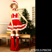 It is ♪ Santa costume play set in sexy at the chest which ★ full of the prettiness is big, and opened at the ◎ race &A line which there is Santa clothes dress Santa Claus costume play Christmas costume dress bunny size development in♪